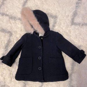 Zara baby girl fur hoodie jacket